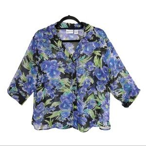 Apparenza Button Down Sheer Floral Blouse